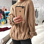 Одежда handmade. Livemaster - original item Jerseys: Women`s knitted sweater with braids of warm beige color. Handmade.
