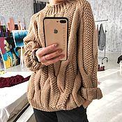 Одежда handmade. Livemaster - original item Warm beige pearl sweater. Handmade.