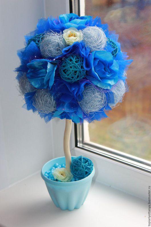 """Топиарии ручной работы. Ярмарка Мастеров - ручная работа. Купить """"Небесное сияние"""". Handmade. Синий, топиарий дерево счастья, Топиарии"""