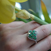 Украшения handmade. Livemaster - original item SYLVIA-a charming silver ring with natural emeralds. Handmade.