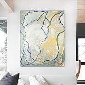 Картины и панно handmade. Livemaster - original item Interior painting, grey gold abstract Marble. Handmade.