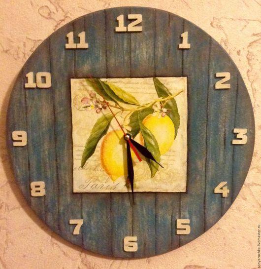 Часы для дома ручной работы. Ярмарка Мастеров - ручная работа. Купить Часы настенные декупаж. Handmade. Синий, часы деревенские