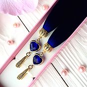Украшения ручной работы. Ярмарка Мастеров - ручная работа Серьги-кисти Luxury Glass Dark blue индиго синий электрик полночный. Handmade.