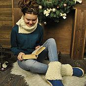 Обувь ручной работы. Ярмарка Мастеров - ручная работа Валенки на подошве, гетры и снуд. Handmade.