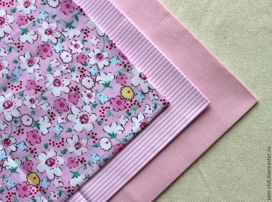 Шитье ручной работы. Ярмарка Мастеров - ручная работа. Купить Набор ткани для рукоделия 3 шт. Handmade. Розовый