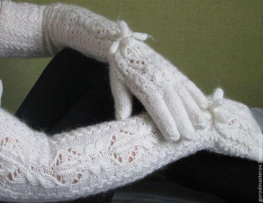 Варежки, митенки, перчатки ручной работы. Ярмарка Мастеров - ручная работа. Купить Перчатки Льдинка удлиненные. Handmade. Белый