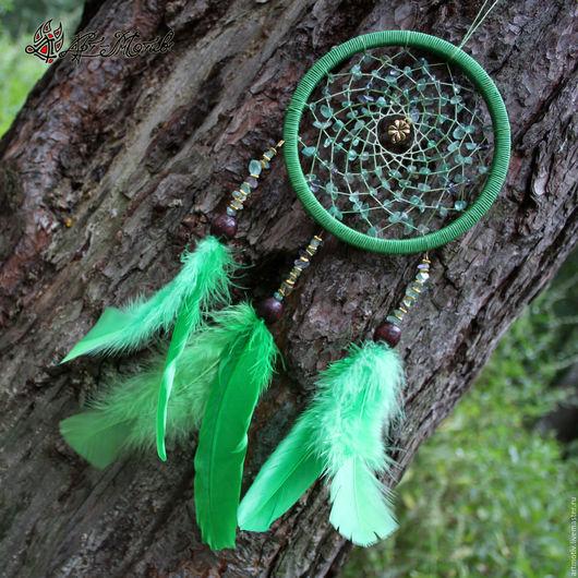 Ловец снов `Лесной` с натуральным флюоритом, 28 см