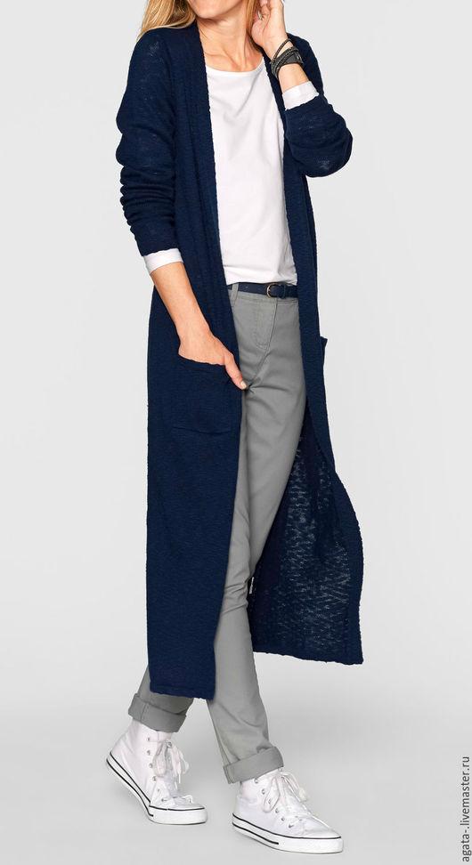 Кофты и свитера ручной работы. Ярмарка Мастеров - ручная работа. Купить кардиган синий. Handmade. Тёмно-синий, однотонный