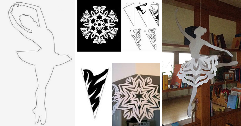 Как сделать балерину снежинку из бумаги шаблон