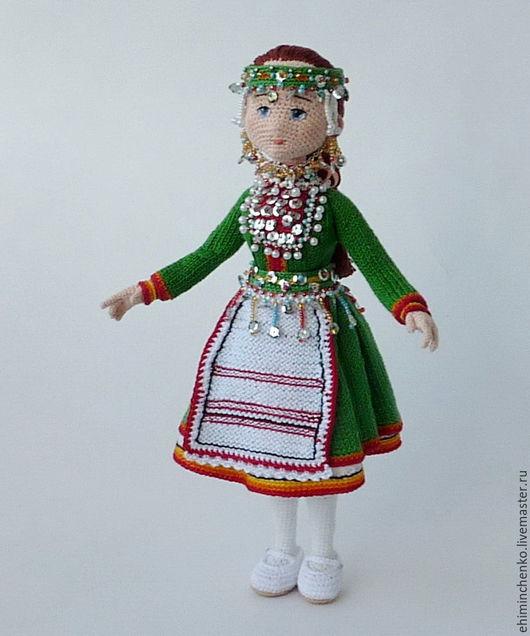 Человечки ручной работы. Ярмарка Мастеров - ручная работа. Купить Вязаная интерьерная кукла Сернурская Красавица. Handmade. Зеленый, изящная