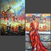 """Картины и панно ручной работы. Ярмарка Мастеров - ручная работа Диптих """"Золотые огни Венеции"""". Handmade."""