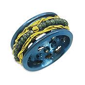 """Украшения handmade. Livemaster - original item Кольцо """"Голубые алмазы"""" с золотом на синем титане. Handmade."""