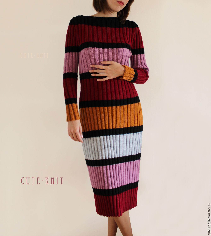 Чтобы лучше рассмотреть модель, нажмите на фото CUTE-KNIT Ната Онипченко Ярмарка Мастеров Купить женское платье рубчик в полоску