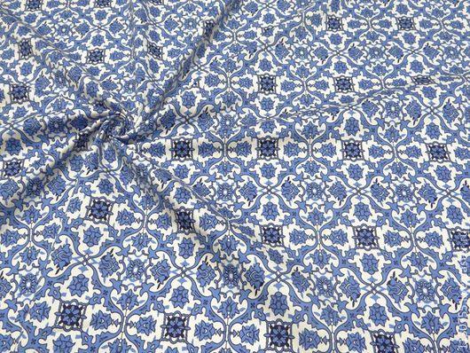 Шитье ручной работы. Ярмарка Мастеров - ручная работа. Купить Новинка ! ткань хлопок сатин  стрейч костюмный синий. Handmade.