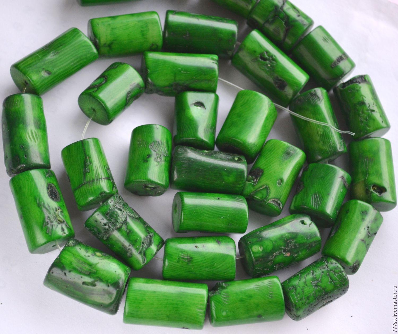 Для украшений ручной работы. Ярмарка Мастеров - ручная работа. Купить Коралл зеленый крупные столбики. Handmade. Зеленый