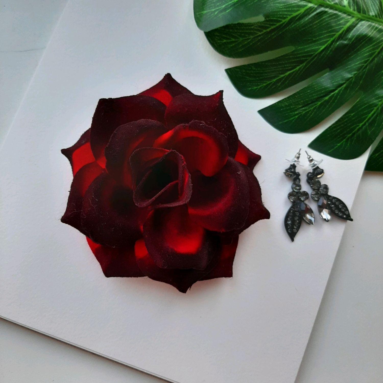 "Черно красная роза ""Фламенко"", Заколки, Санкт-Петербург,  Фото №1"