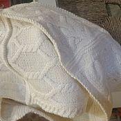 Аксессуары ручной работы. Ярмарка Мастеров - ручная работа Снуд 1,4 м белый с 9-ю аранскими узорами. Handmade.