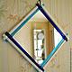 Зеркала ручной работы. Ярмарка Мастеров - ручная работа. Купить Зеркало настенное/настольное фьюзинг белое с синим. Handmade. Белый, зеркало