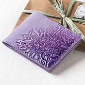 Сумки и аксессуары handmade. Livemaster - original item Wallet cardholders from embossed leather Lilac. Handmade.