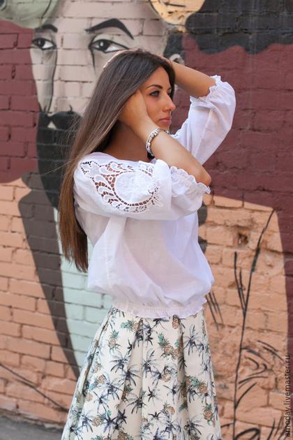 Белая Блузка С Вышивкой Купить