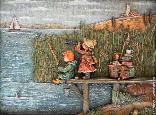 """Фантазийные сюжеты ручной работы. Ярмарка Мастеров - ручная работа. Купить """"У озера"""" папье-маше, миниатюра. Handmade."""
