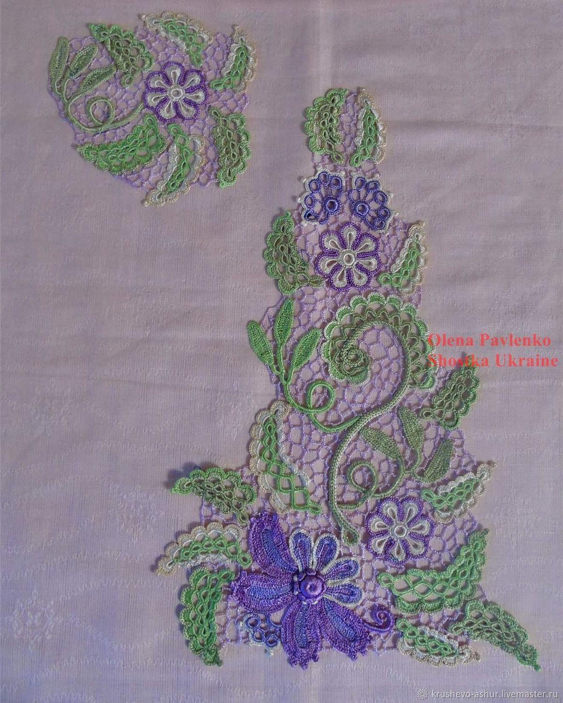 Кружевная вставка-аппликация Летний цветок. Ирландское кру, Аппликации, Сумы,  Фото №1