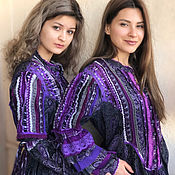 Одежда handmade. Livemaster - original item Cotton tunic in the boho decor and lace-Silver-Purple. Handmade.