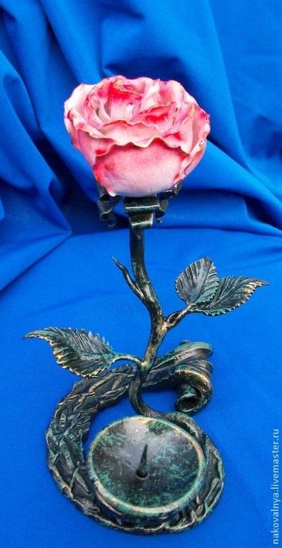 Персональные подарки ручной работы. Ярмарка Мастеров - ручная работа. Купить Подсвечник с розой. Handmade. Разноцветный, подсвечник, подарок девушке