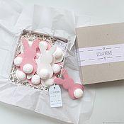 Элементы интерьера ручной работы. Ярмарка Мастеров - ручная работа Зайчики - White & pink - гирлянда для детской. Handmade.