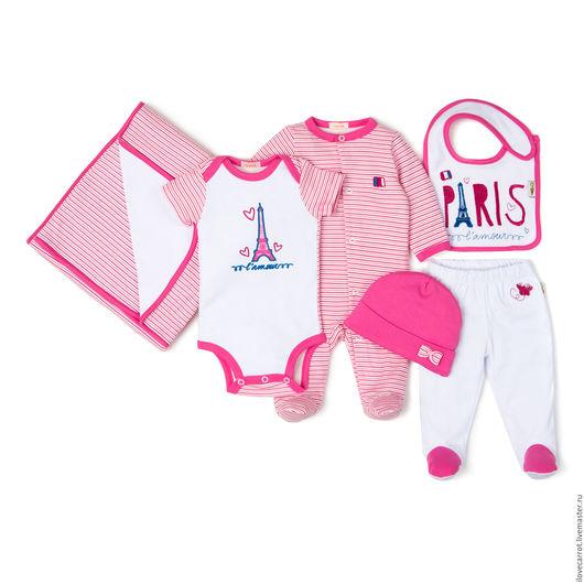 """Для новорожденных, ручной работы. Ярмарка Мастеров - ручная работа. Купить Комплект на выписку """"Париж"""". Handmade. Комбинированный, комплект одежды"""