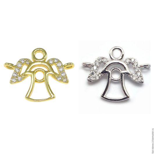 Коннектор Ангел серебро и золото (Milano) Евгения (Lizzi-stones-2)