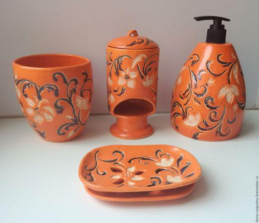 Ванная комната ручной работы. Ярмарка Мастеров - ручная работа. Купить Набор в ванную комнату. Handmade. Оранжевый, стакан