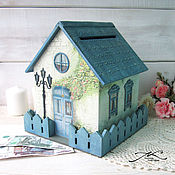 Свадебный салон handmade. Livemaster - original item Wedding money house piggy Bank wooden decoupage white blue. Handmade.