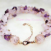 Украшения handmade. Livemaster - original item Bracelet of Amethyst and Rose Quartz