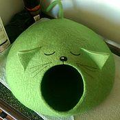 Для домашних животных, ручной работы. Ярмарка Мастеров - ручная работа Валяный домик для кошки-Ушастик. Handmade.
