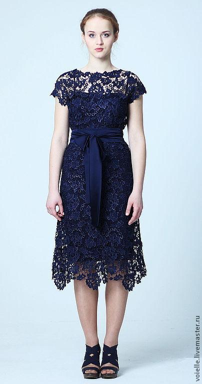 320945d85be4 Платье кружевное темно-синее – купить в интернет-магазине на Ярмарке ...