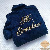 Одежда ручной работы. Ярмарка Мастеров - ручная работа Махровый халат с именной вышивкой. Handmade.