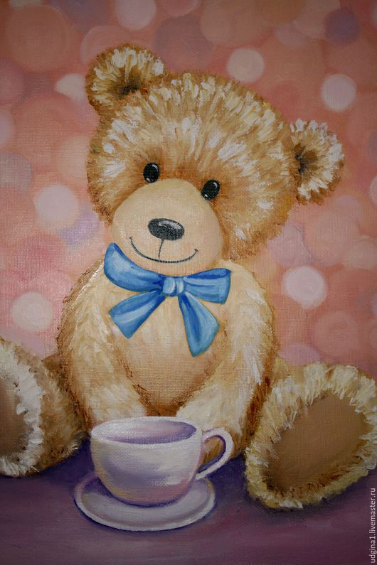 """Животные ручной работы. Ярмарка Мастеров - ручная работа. Купить """"Мой маленький мишка"""". Handmade. Картина для ребенка, нарисованный медвежонок"""