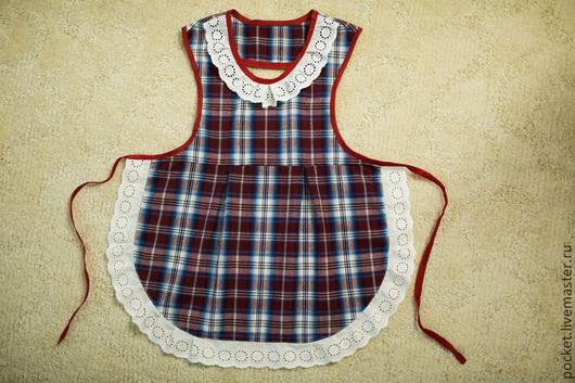 Одежда для девочек, ручной работы. Ярмарка Мастеров - ручная работа. Купить Фартук. Handmade. Бордовый, в клеточку, фартук, детское, девочкам