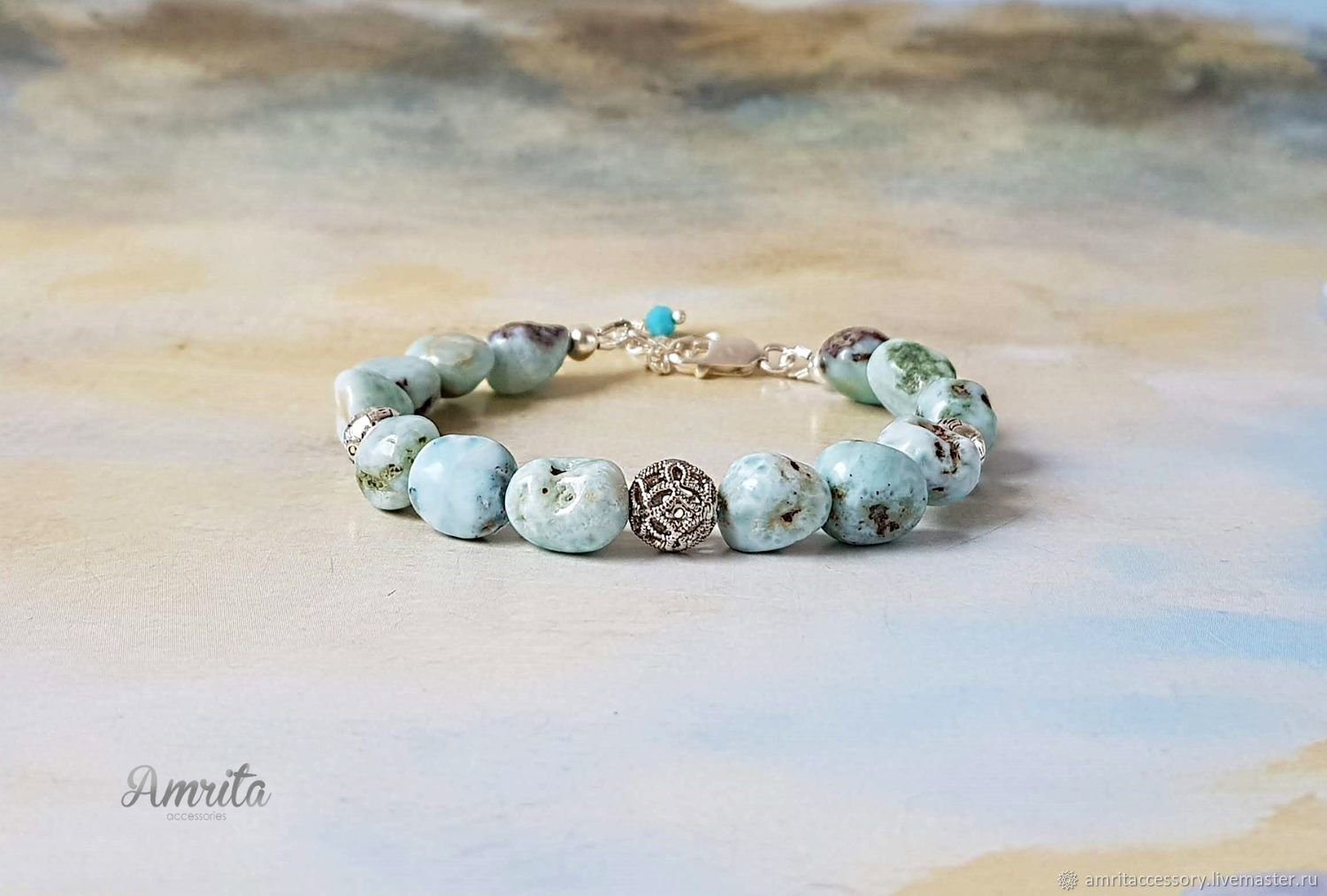 Delicate Natural Larimar and Silver Bracelet-Talisman, Bead bracelet, Moscow,  Фото №1