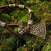 Украшения handmade. Livemaster - original item Leather bracelet with a bronze axe .bracelet with runes. Handmade.