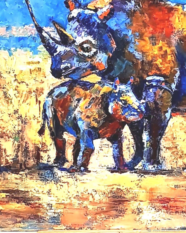 Картина маслом Носорожек с мамой
