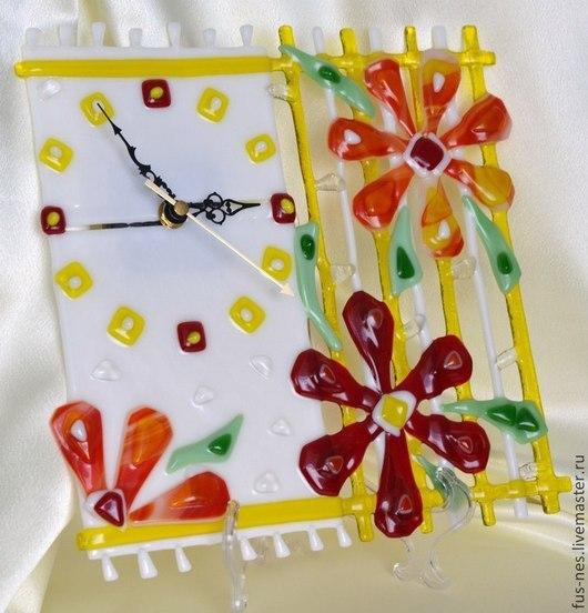 Часы для дома ручной работы. Ярмарка Мастеров - ручная работа. Купить Оранжевое настроение Фьюзинг. Handmade. Рыжий, часы фьюзинг