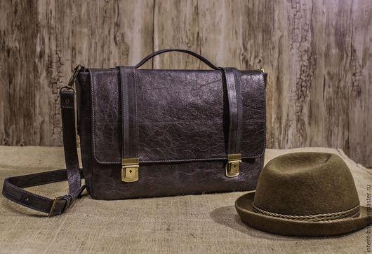 Мужские сумки ручной работы. Ярмарка Мастеров - ручная работа. Купить С004. Handmade. Серый, кожа натуральная