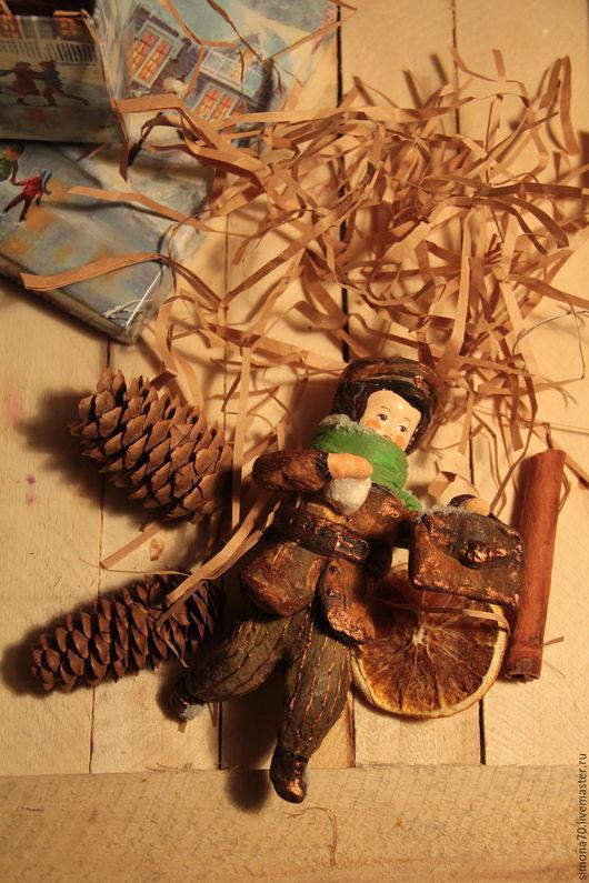 """Коллекционные куклы ручной работы. Ярмарка Мастеров - ручная работа. Купить Ватная игрушка """"Первый снег или как Федька- гимназист слепил снежок"""". Handmade."""