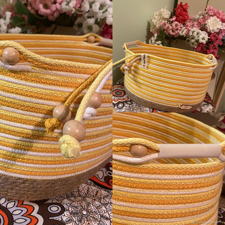 Корзинa овальная из хлопкового шнура и джута, Корзины, Алматы,  Фото №1