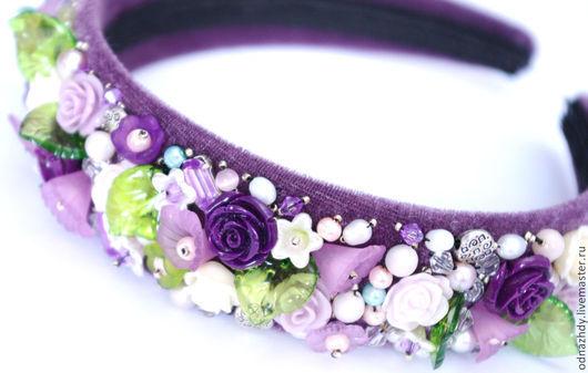 """Диадемы, обручи ручной работы. Ярмарка Мастеров - ручная работа. Купить Ободок """"Lavender"""" в стиле D&G. Handmade. Бледно-сиреневый"""