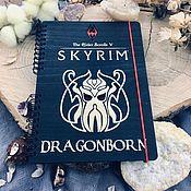 Канцелярские товары handmade. Livemaster - original item Skyrim Dragonborn Wooden notebook / Sketchbook. Handmade.