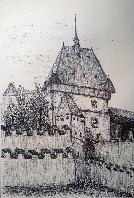 Пейзаж ручной работы. Ярмарка Мастеров - ручная работа. Купить Замок. Графика. Handmade. Чёрно-белый, замок, линёры