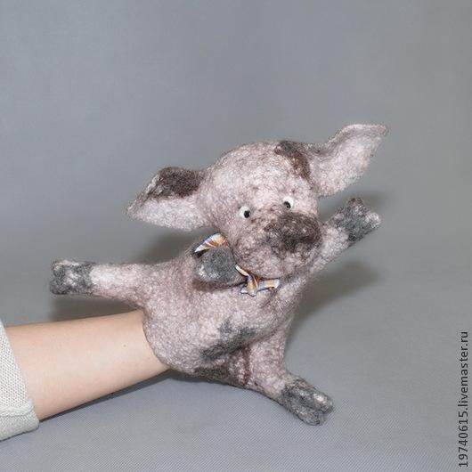 Кукольный театр ручной работы. Ярмарка Мастеров - ручная работа. Купить Поросёнок. Перчаточная кукла.. Handmade. Бледно-розовый, театр